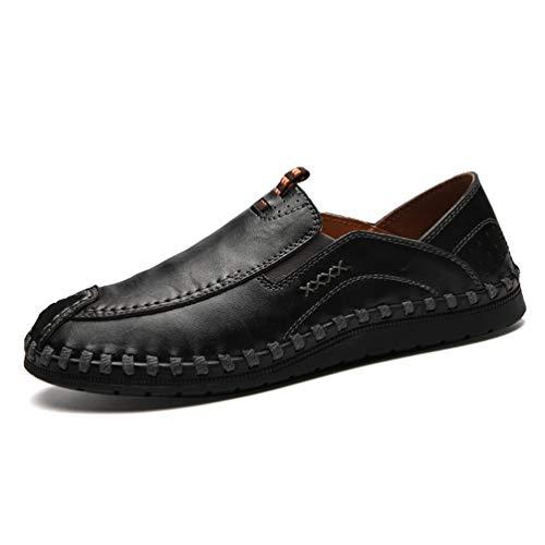 Homme Chaussure en Cuir d'affaire Commercial Habillé Souple Basse Plate d'automne Mocassin Chaussure sans Lacet de Travail Confortable