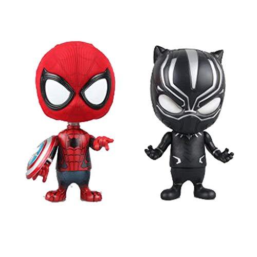 SYDDP Anime Toys Anime Model Character Avengers Version Q‿Tête de secouement Noir Panthère Spiderman Art Collection Souvenir Voiture Décoration de Voiture en PVC Modèle Anime Toy Models