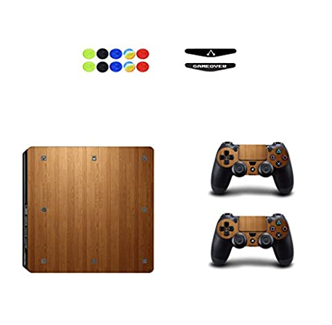 Skin for PS4 Slim, Chickwin Vinyle Protective Autocollant Decal Sticker pour Playstation 4 Slim console + 2 Dualshock Manette Set + 10pc Thumb Grips + 2pc Light Bar au hasard (Bois)