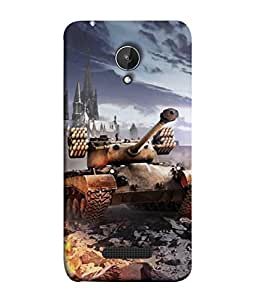 PrintVisa Designer Back Case Cover for Micromax Canvas Spark Q380 (Conflict Power Battle Truck Land Dessert Heavy Earth Illustration)