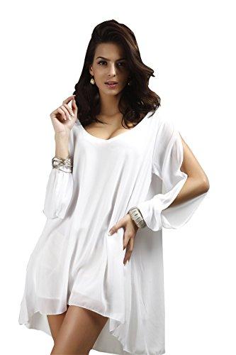 JOTHIN Nouveau Automne Mini-col-V à Manches Longues en Mousseline de Soie de Couleur Unie Lâche de la Mode Vestimentaire des Femmes A-ligne Robe Blanc