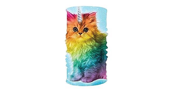 uyruyeue Unicorn Rainbow Cat Kitten Funny 16-in-1 Magic Scarf,Face Mask,Thin Ski Mask,Balaclava Bandana