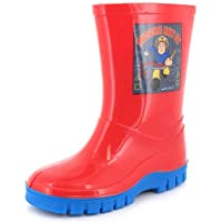 New Boys/Childrens Red Firemans Sam Wellington Boots With Blue Soles. - Red - UK SIZE 4