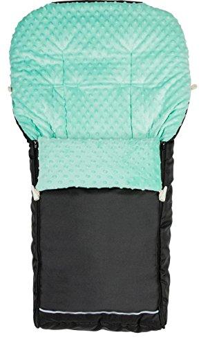 Vielfältig einsetzbar Baby Jungen und Mädchen Winter Fußsack mit Minky-Fleece Größe 90x40 cm 11 Farben (Schwarz-Türkis)