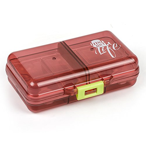 Reise-medizin-schrank (Pillendose, Bidear Reise 7 Tage Pillenbox Organizer Sport Klein Vitamin Caddy Tablettenbox mit 8 Fächer für Kinder/ Herren/ Unterwegs/ die Handtasche (Braun))