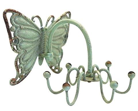 NIKKY HOME Bijoux mur Affichage Hanger Porte-bijoux en rack en métal Crochets pour collier Bracelets Organizer Decor Vintage Papillon Bleu Distressed