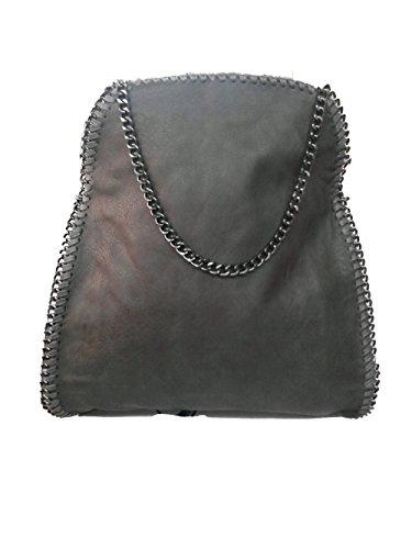 b2c52f0ba62d4 Handtasche VIVIEN Lederlook Damen Schultertaschen mit Kette Dunkel Braun02