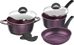 IMPERA® Batterie de cuisine, 5 pcs, couleur aubergine purple