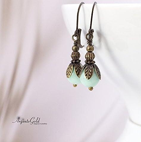 Edwardian Earrings, Vintage, Drop Earrings, Art Deco Style, Victorian Earrings, Amazonite Gemstone, Lever Back Ear Wires, Handmade, UK,