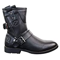 Mens Zip Punk Rock Goth Elmo Ankle Boots Brown Black Leather Buckle
