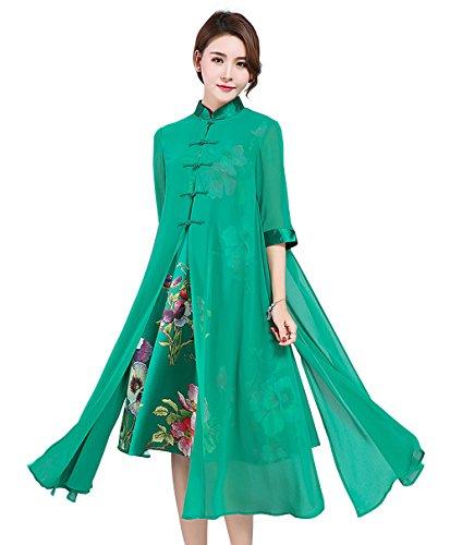 a39c603edfa978 LAI MENG Vintage Damen chinesischen Stil 2 in 1 Design Elegant Lose A-Line  Kleider mit Blumenmuster Rockabilly Swing Kleider