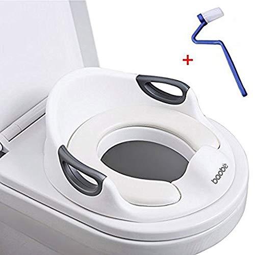 Toilet Seat per bambini Bambina bambino Toilette per cuscino Maniglia e schienale Toilet Trainer per WC rondi e ovali