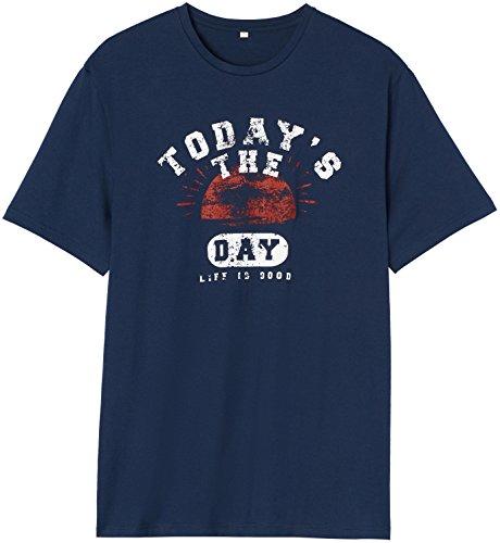 FIND Schlafshirt Herren Baumwoll-Jersey mit Slogan-Print Blau (Navy)