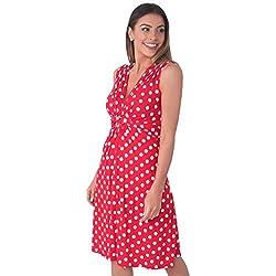 KRISP Mujer Vestifo Corto Lunares Juvenil (6147-REDWHT-20)