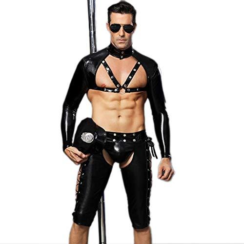 Xuesha Männer Leder Bodysuit Polizei Offizier Rollenspiel Uniform Set Wet Look Mit Lange Ärmel Oben + Ausbuchtung Beutel Boxer