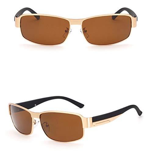 WSKPE Sonnenbrille,Polarisierte Sonnenbrillen Herren Square Sonnenbrille Metallrahmen Gläser Gold Frame Braune Linse