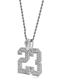84d0ec9b0ad Silver Full Iced Out Bling Number 23 Large Pendant Hip Hop Rope Chain  Necklace