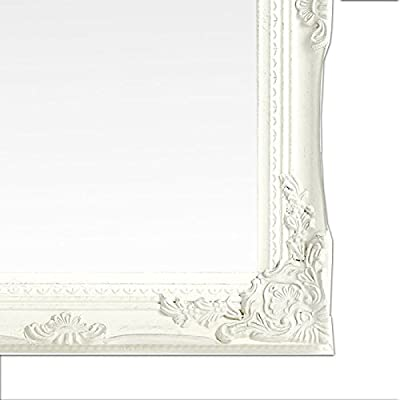 Wandspiegel Spiegel 40 x 50 cm silber-weiß Antik-Stil barock m. Facettenschliff
