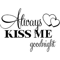 Webla Heiß! Küssen Sie Mich Immer Goodnight Wandaufkleber Zitat Aufkleber entfernbarer Aufkleber (Schwarz)