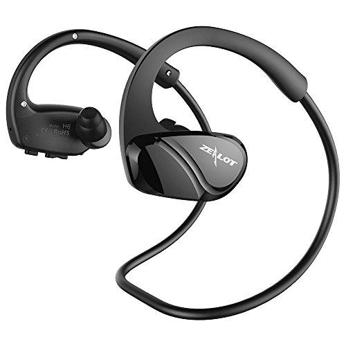 ZEALOT H6 Auricolari Bluetooth Sportivi Resistenti al Sudore Cuffie Wireless Stereo Headset Portatile in Ear con Microfono per iPhone/Huawei/Samsung,ECC-Nero