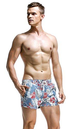 Honeystore Herren Schwimm Shorts Brave Soul Hawaii Strand-aufdruck Sommer Neu Hellblau Blatt XL