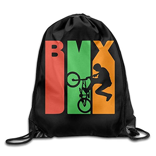 gthytjhv Retro 1970's Style BMX Silhouette Drawstring Pack Beam Mouth Gym Sack Shoulder Bags for Men Women Lightweight Unique 16.9x14.2