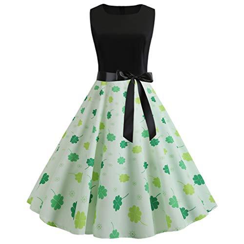 Damen Kleider,Staresen Bedrucktes ärmelloses Kleid Damen Vintage Partykleider Elegant Cocktailkleid...