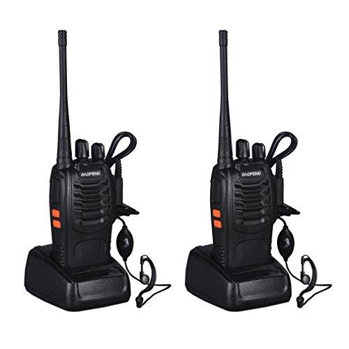 Talkies Walkies VHF / UHF UKW-Transceiver 400-470MHz Wiederaufladbare Long Range 16 Kanäle Zwei-Wege-Radio Perfekt für den Wachmann, Supermarkt-Verbindung, Baubereich Indication, Field Survival, Radfahren und Wandern (2ST)