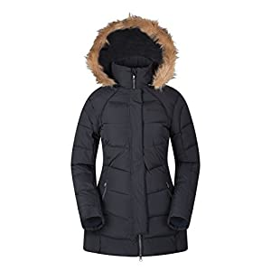 41FgoFlNxuL. SS300  - Mountain Warehouse Isla II Womens Down Jacket - Fur Hoodie, Two Zipped Pockets, Waterproof Winter Coat -Thermal Tested -50 - Ideal for Cold Weather