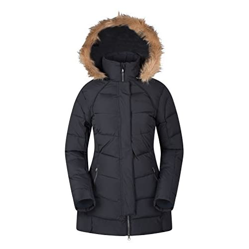 41FgoFlNxuL. SS500  - Mountain Warehouse Isla II Womens Down Jacket - Fur Hoodie, Two Zipped Pockets, Waterproof Winter Coat -Thermal Tested -50 - Ideal for Cold Weather