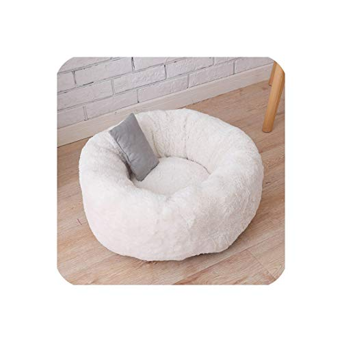Eternity Bliss Warm Plush Indoor Cat House Kennel Dog Bed for Medium Dogs,Beige,L 60X60X22Cm