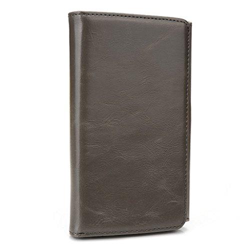 Kroo Portefeuille unisexe avec Alcatel Pop C3/ot-991d/One Touch M Pop 5020D Noir Universel différentes couleurs disponibles avec affichage écran Beige - beige Gris - gris