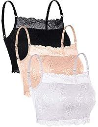 1e02fccf1ba24 3 Pieces Lace Camisole Lace Half Bralette Neck Lace Top Bandeau Bra  Camisole with Adjustable Strap for Women…