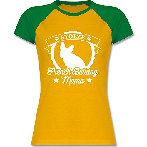 Hündin Gelbes T-shirt (Hunde - Stolze French Bulldog Mama - XL - Gelb/Grün - L195 - zweifarbiges Baseballshirt / Raglan T-Shirt für Damen)