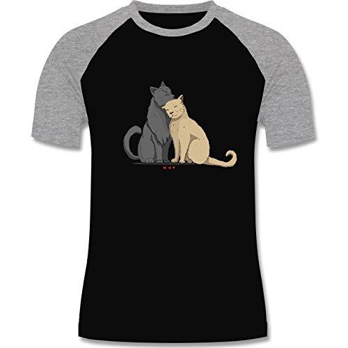 Katzen - kuschelnde Katzen - zweifarbiges Baseballshirt für Männer Schwarz/Grau Meliert