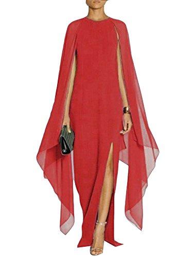 Gladiolus Donna Elegante Vestiti Lunghi Cocktail Cerimonia Abito in Chiffon Senza Maniche/Rosso XL