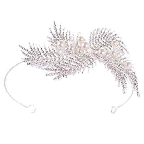 FUBULECY Crown Europe und die Vereinigten Staaten Blatt Krone Außenhandel heißer Strass Strass Tiara Braut Stirnband Hochzeit Kopfschmuck (Farbe : Silver) -