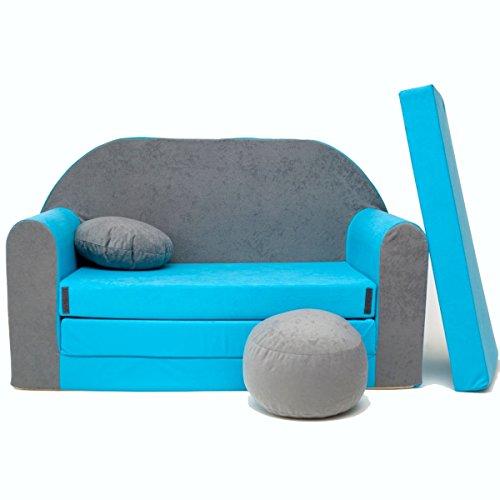 Minicouch Kindersofa Babysofa Sofa Set Sitzkissen Matratze weiche Velours verschiedene Farben (B1 blau-grau)