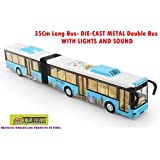 TOY-STATION - DIE CAST Metal Play Set - Perfect Toy Set For Kids (35 CMS Long Bus - DIE-CAST Metal -with Lights & Sound -Blue)