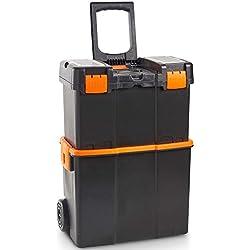VonHaus Caisse à Outils Roulante Solution de rangement d'outils sécurisée - Chariot de transport d'outils avec couvercle verrouillable et plateau amovible