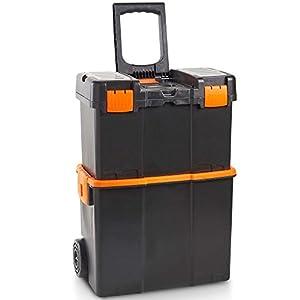 VonHaus Caja de herramientas con Ruedas – Centro de trabajo móvil seguro/Unidad de almacenamiento/Organizador/Carrito/Transporte para herramientas con cubierta y bandeja extraíble