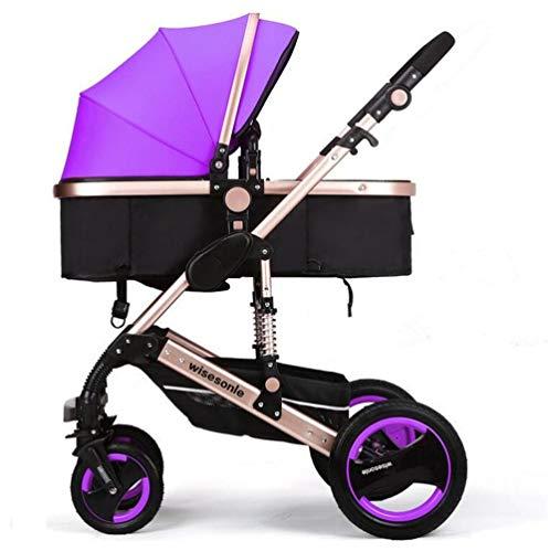 YXJ Hohe Landschaft Neugeborenes Kombikinderwagen Kinderwagen Kann Sich hinsetzen hinlegen Fold Shock Avoidance Vier Runden Zwei-Wege-Implementierung Vier Jahreszeiten verfügbar für 0-3 Kinder,Purple