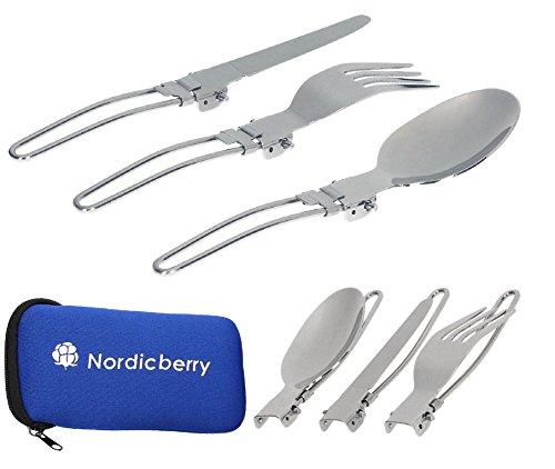 Nordicberry Outdoor Klappbesteck und Campingbesteck aus hochwertigem Edelstahl mit Neoprentasche (Blau)