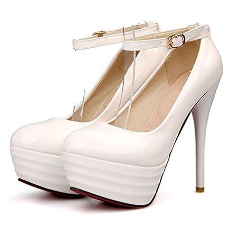 OALEEN - Escarpins Vernis à Bride Cheville Talon Haut Aiguille Plateforme Femme Blanc 36