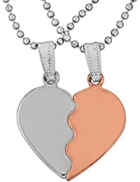 Memoir Stainless Steel And Copper Two Parts, Half Shiny White, And Half Copper, Heart Shape Fashion Pendant Men...