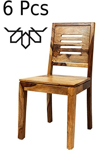 MAADES 6 er Set Esstischstuhl Stuhl aus Holz Massiv Clyde   Vintage Stühle aus Sheesham Massivholz...