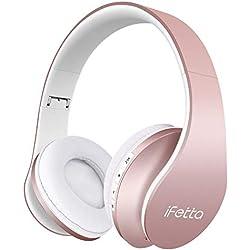 Ifecco Bluetooth Estéreo Auriculares Música Sobre-oído Sonido de alta fidelidad, Bluetooth Banda para la cabeza plegable con micrófono y cable de audio para Apple iPhone, PC(actualizar Oro Rosa)