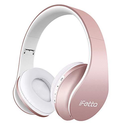 Bluetooth Kopfhörer, Ifecco Bluetooth Headset Wirless Ohrpolster Kopfhörer, Stereo-Headset Sport Hörer Kompatibel mit Allen Gängigen Smartphones/Tablets/Notebooks (Upgrade golden Rose)