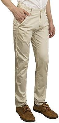 Pantalones Largos para Hombre de Lino, Casual, Corte Delgado,Verano,Beige