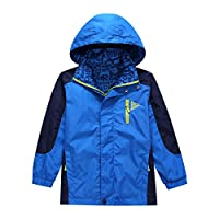 BASADINA Boys Hooded Jacket  Kids Rain-Coat Football Sports Jackets Childrens Waterproof Outdoor Jacket Windbreaker Blue